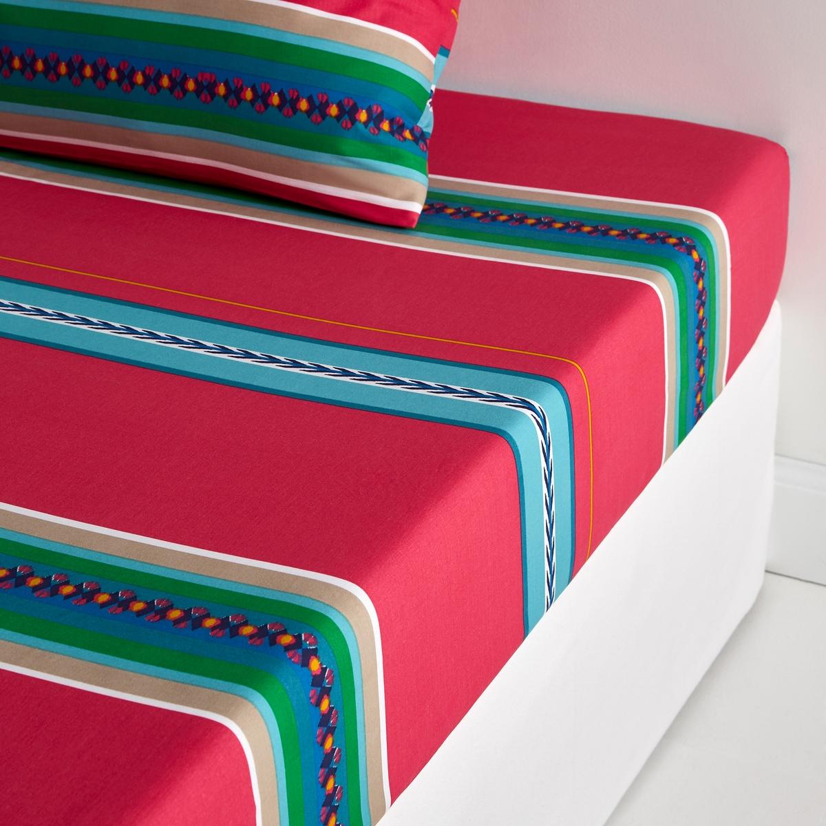 Простыня натяжная NazcaСоответствие размеров натяжной простыни:     90 x 190 см: 1-спальная140 x 190 см: 2-спальная160 x 200 см: 2-спальная             Машинная стирка при 60 °С.Яркие полоски в стиле мексиканского фольклора.<br><br>Цвет: розовый с рисунком