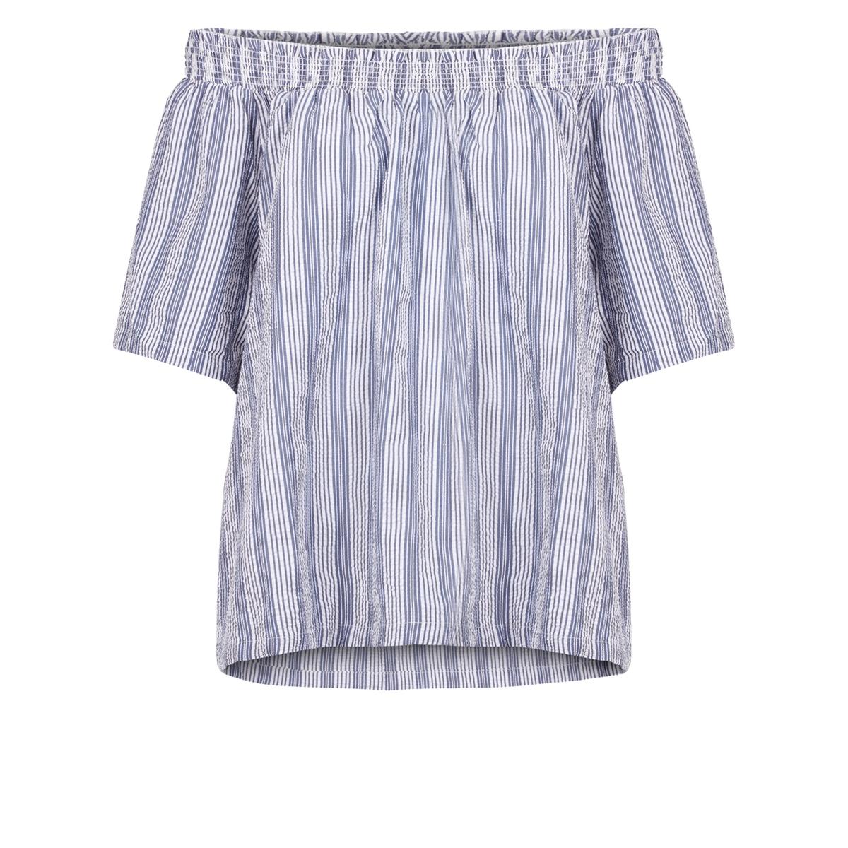 где купить Блузка в полоску с открытыми плечами, короткие рукава по лучшей цене