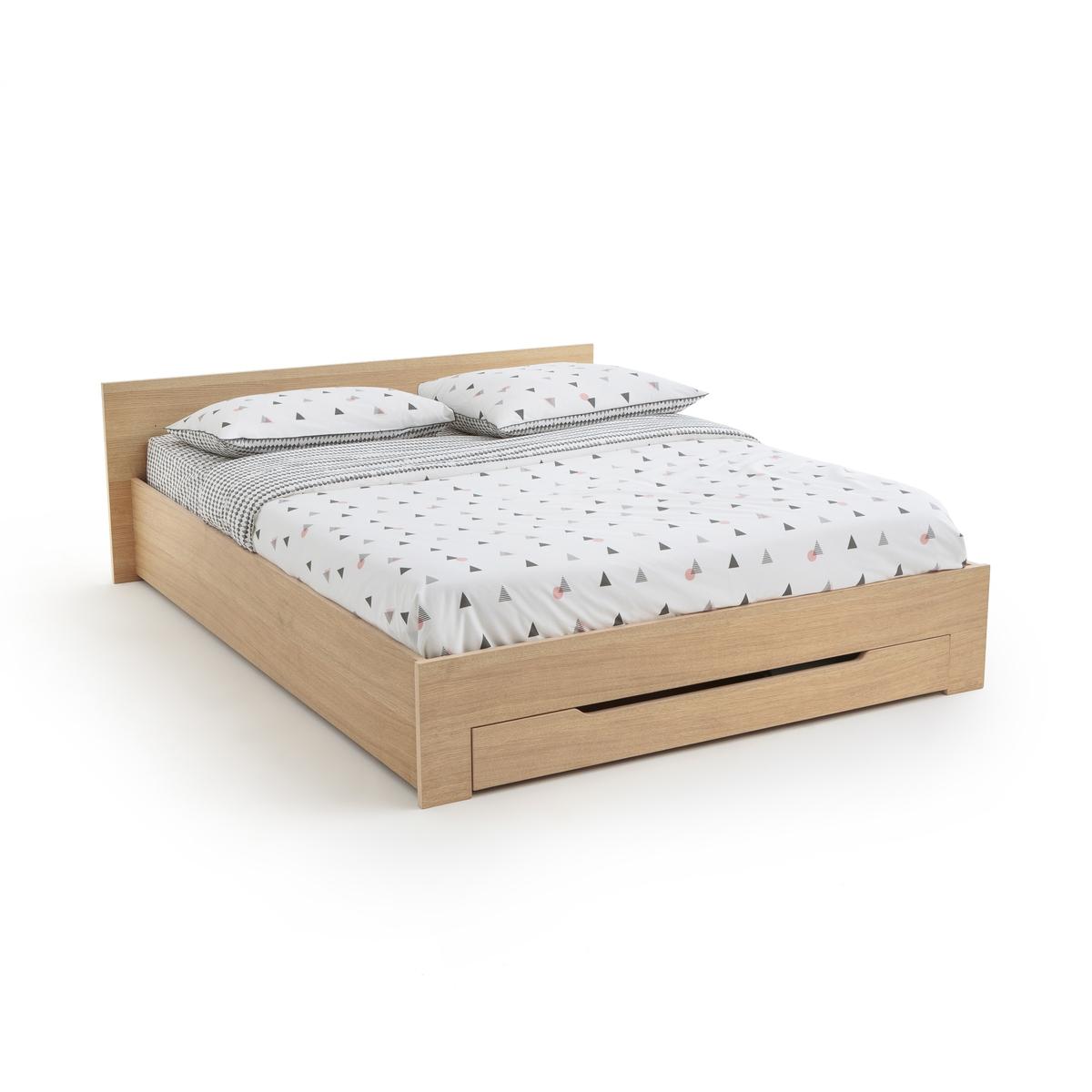 Кровать La Redoute С каркасом для матраса и выдвижным ящиком CRAWLEY 140 x 190 см каштановый мат для защитный для автомобиля мастерпроф с возможностью крепления на углах и колоннах 33 x 20 x 1 см