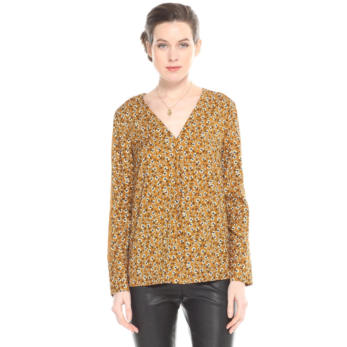 Блузка с V-образным вырезом, цветочным рисунком и длинными рукавами