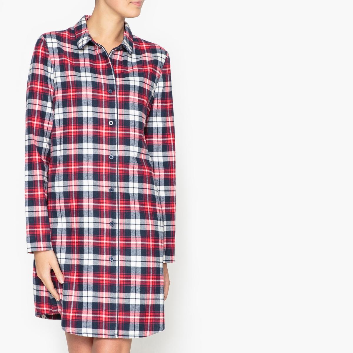 Сорочка ночная в форме рубашкиНочная сорочка в стиле рубашки с рисунком в клетку R Essentiel.Фланелевая ночная сорочка в клетку в винтажном стиле, прямой покрой. Воротник, застежка на пуговицы, длинные рукава, закругленный низ. Состав и описание : Материал : 100% хлопокДлина :Верх: 92 смМарка : R Essentiel.Уход:Машинная стирка при 30 °С на деликатном режиме с вещами схожих цветов.Стирать, сушить и гладить с изнаночной стороны на низкой температуре.<br><br>Цвет: в клетку<br>Размер: 36 (FR) - 42 (RUS).44 (FR) - 50 (RUS).52 (FR) - 58 (RUS).42 (FR) - 48 (RUS).50 (FR) - 56 (RUS).40 (FR) - 46 (RUS)