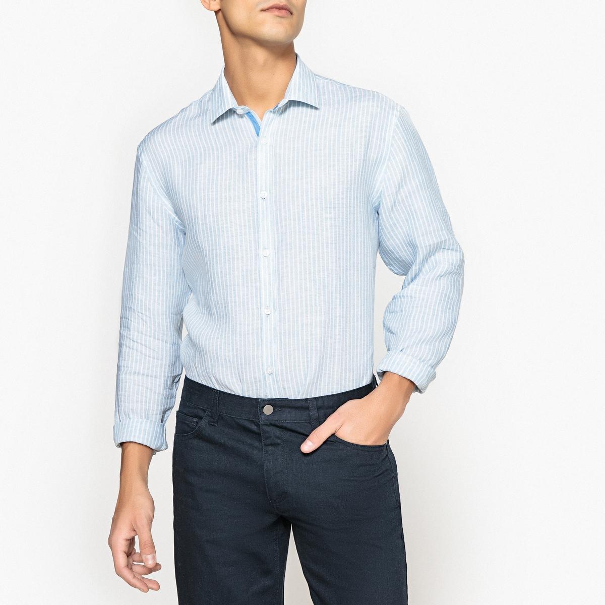 Рубашка в полоску из льна рубашки mavango рубашка