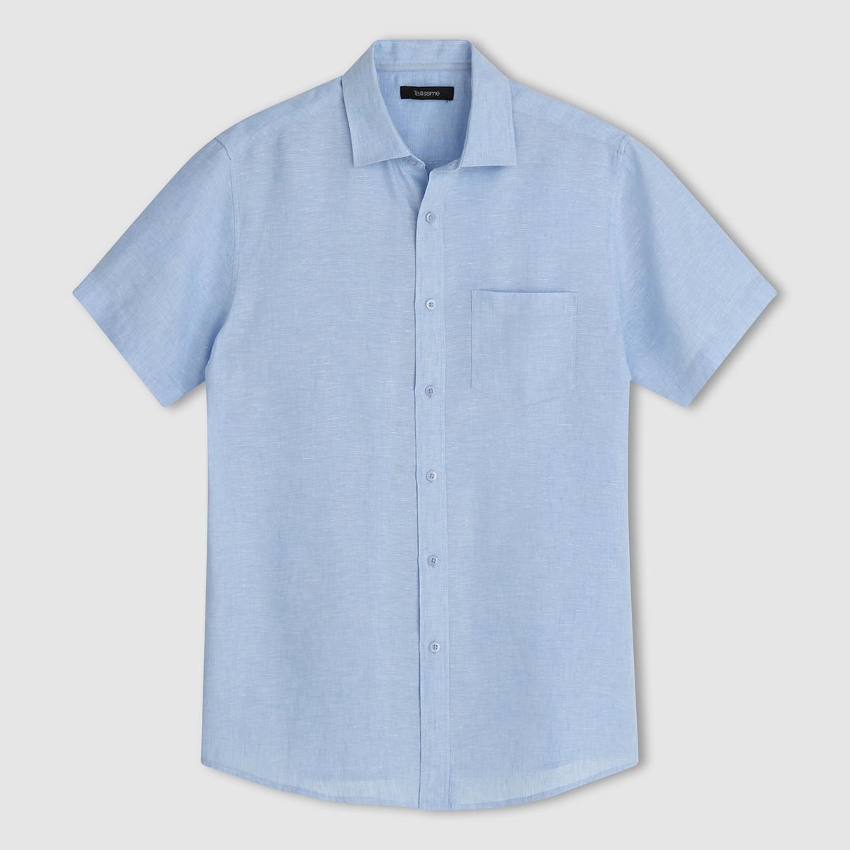 Рубашка из льнаДетали •  Короткие рукава •  Прямой покрой •  Воротник классическийСостав и уход •  100% лен •  Tемпература стирки при 30° на деликатном режиме •  Сухая чистка и отбеливание запрещены •  Не использовать барабанную сушку •  Гладить при высокой температуреТовар из коллекции больших размеров<br><br>Цвет: белый,голубой,черный<br>Размер: 55/56.47/48.53/54.47/48.49/50.45/46.55/56.43/44.53/54