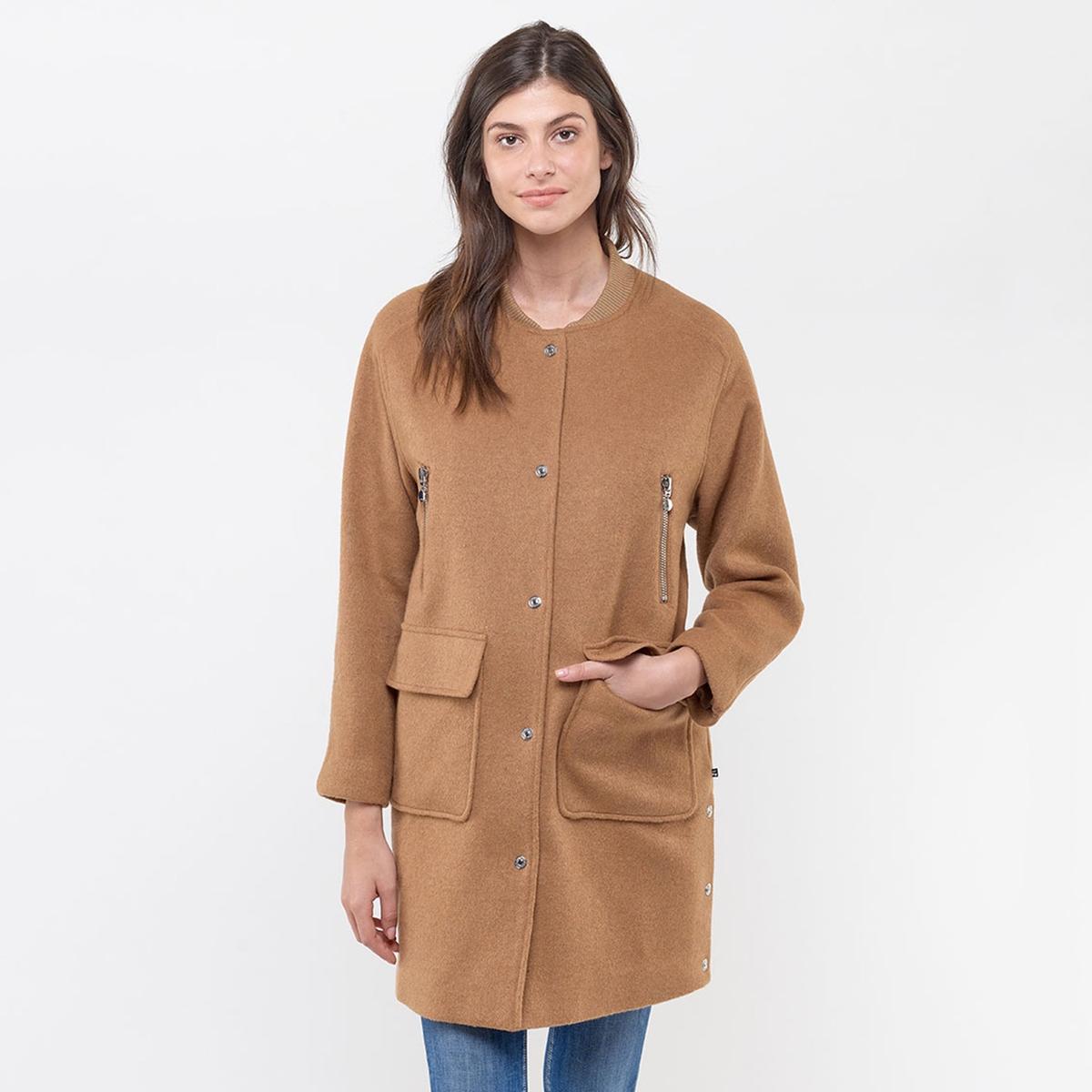 цена Пальто La Redoute Длинное на молнии XS каштановый онлайн в 2017 году