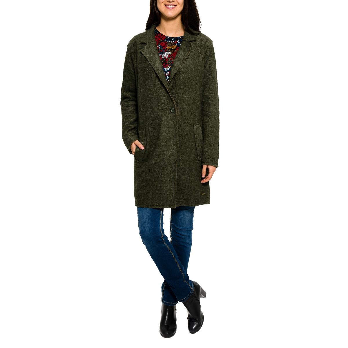 Пальто с  V-образным вырезомСостав и описание       Материал         50% шерсти, 50% полиэстера  Подкладка: 100% полиэстера       Марка: PARAMITA.<br><br>Цвет: хаки<br>Размер: L.M