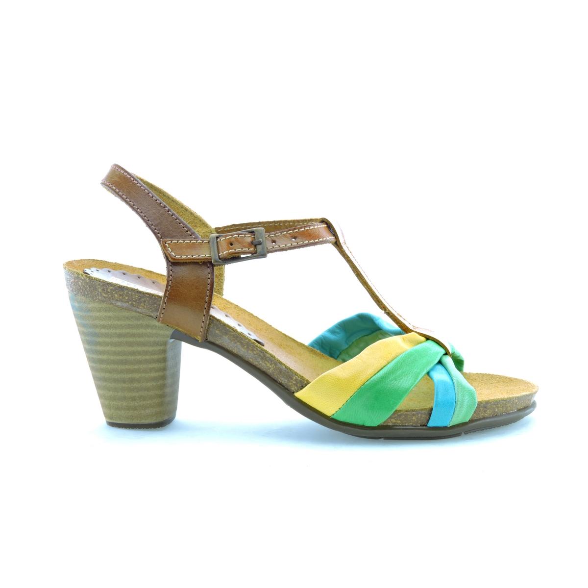 Босоножки кожаные LizВерх : кожа         Стелька : кожа         Подошва : эластомер         Высота каблука : 8 см         Форма каблука : квадратный каблук         Мысок : открытый мысок         Застежка : пряжка<br><br>Цвет: разноцветный