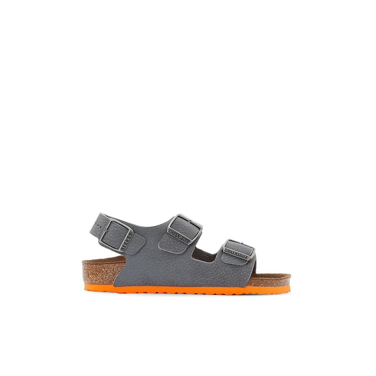 Сандалии на плоском каблуке Milano, размеры 24-34Описание:Детали •  Плоский каблук •  Высота каблука : 1 см •  Застежка : ремешок/пряжка •  Открытый мысок •  Гладкая отделкаСостав и уход •  Верх/Голенище : 100% синтетический материал •  Подкладка : 100% текстиль •  Стелька : 100% кожа •  Подошва : 100% ЭВА<br><br>Цвет: серый/ оранжевый<br>Размер: 31