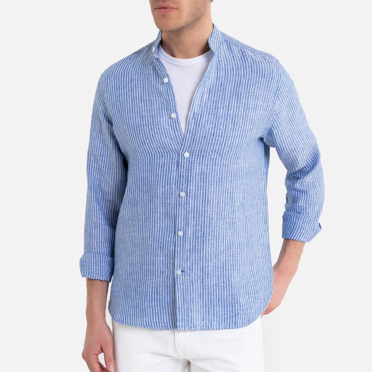 цена Рубашка La Redoute Узкого покроя в полоску с воротником-стойкой 37/38 синий онлайн в 2017 году