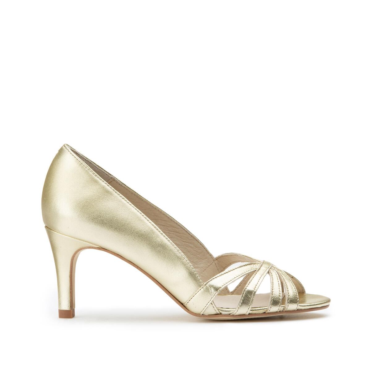 Туфли La Redoute Кожаные с металлическим блеском с открытым мыском на высоком каблуке 39 золотистый туфли la redoute кожаные с открытым мыском и деталями золотистого цвета 41 черный
