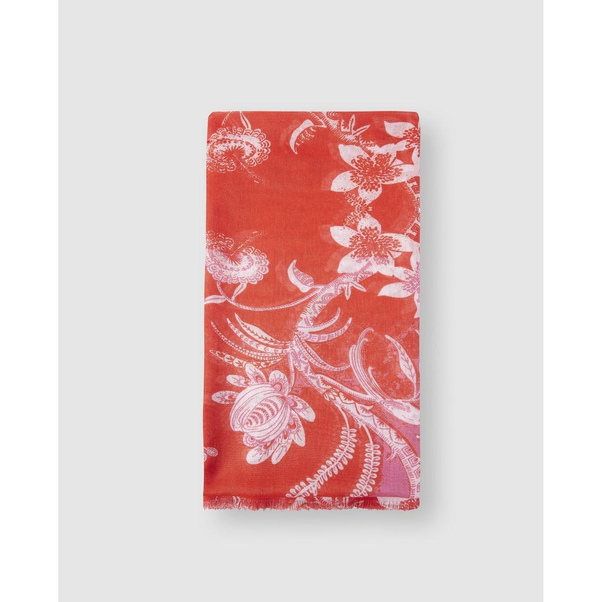 Foulard  en coton et lin  à fleurs