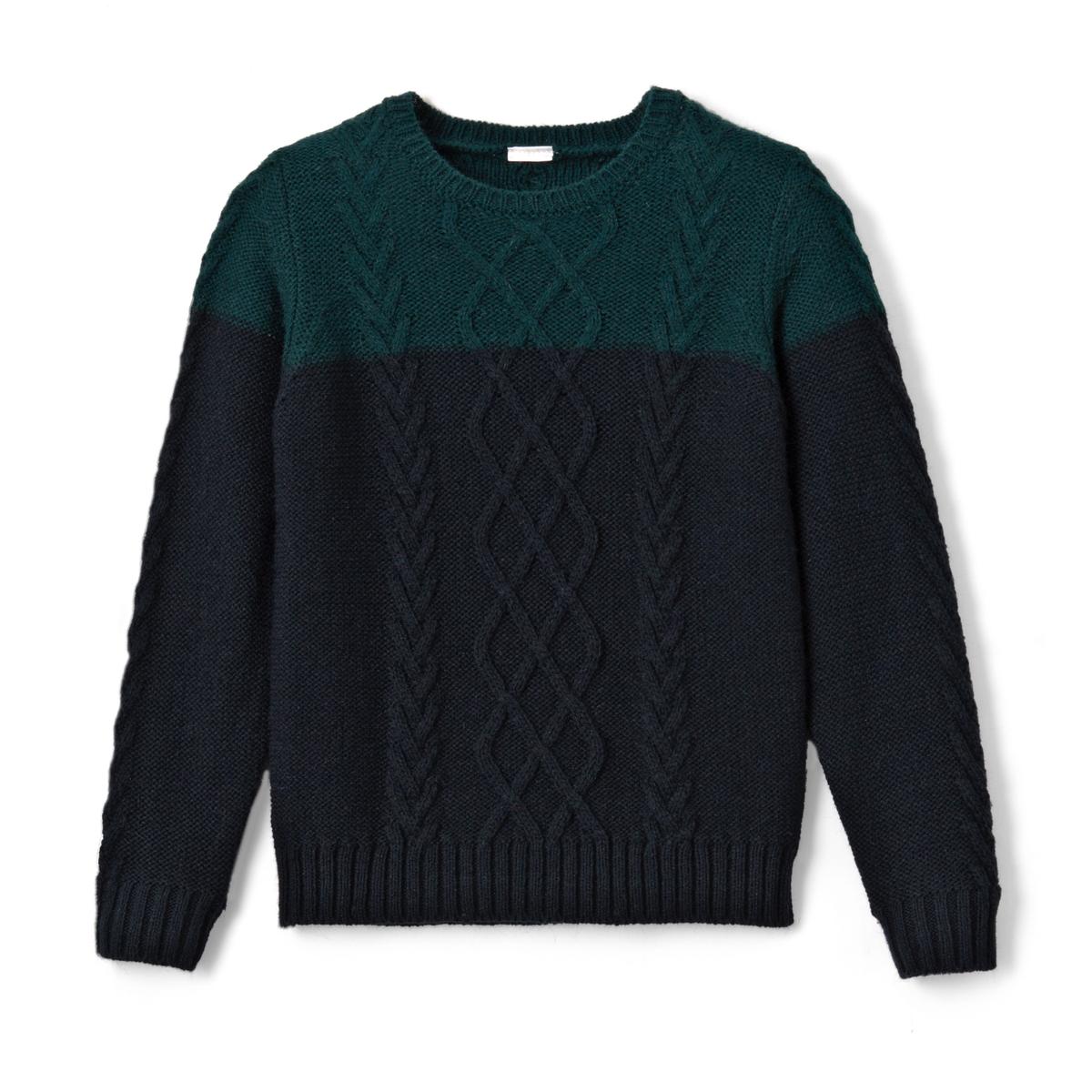 Пуловер двухцветный с рисунком косы, 3-12 лет