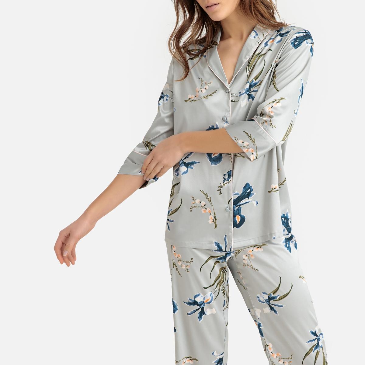 Pijama de satén con estampado floral
