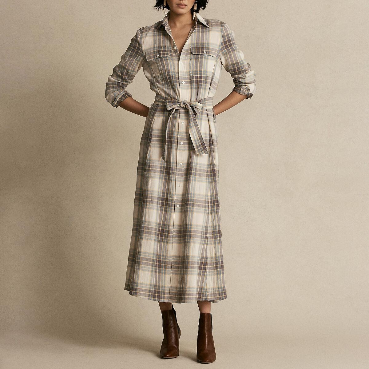 Платье-рубашка LaRedoute В клетку длинное L серый