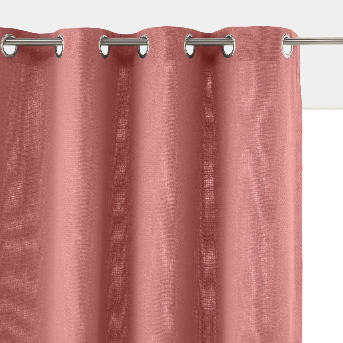 Штора La Redoute Однотонная из 100 плетеного хлопка PANAMA 260 x 140 см розовый