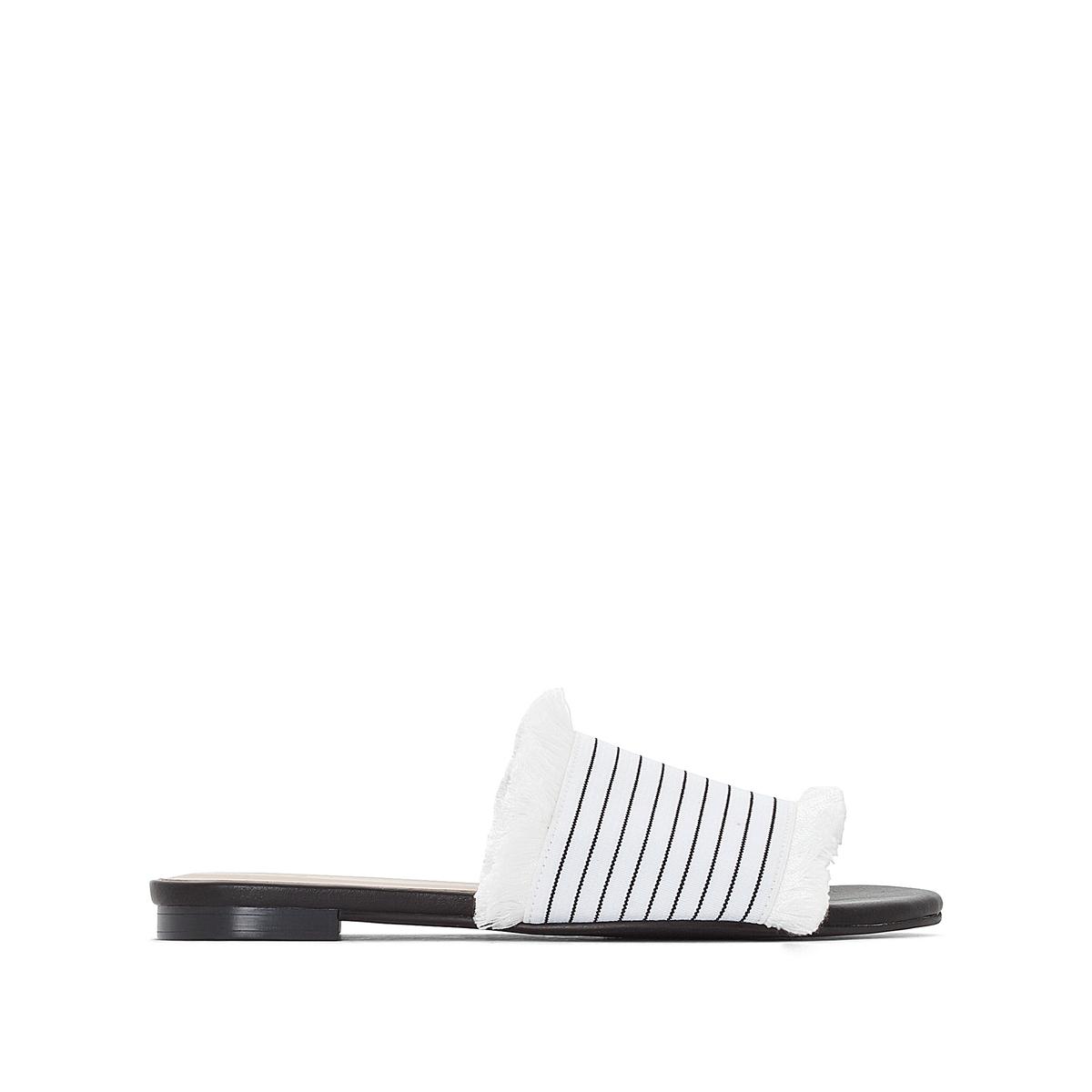 Туфли без задника в полоску с бахромой