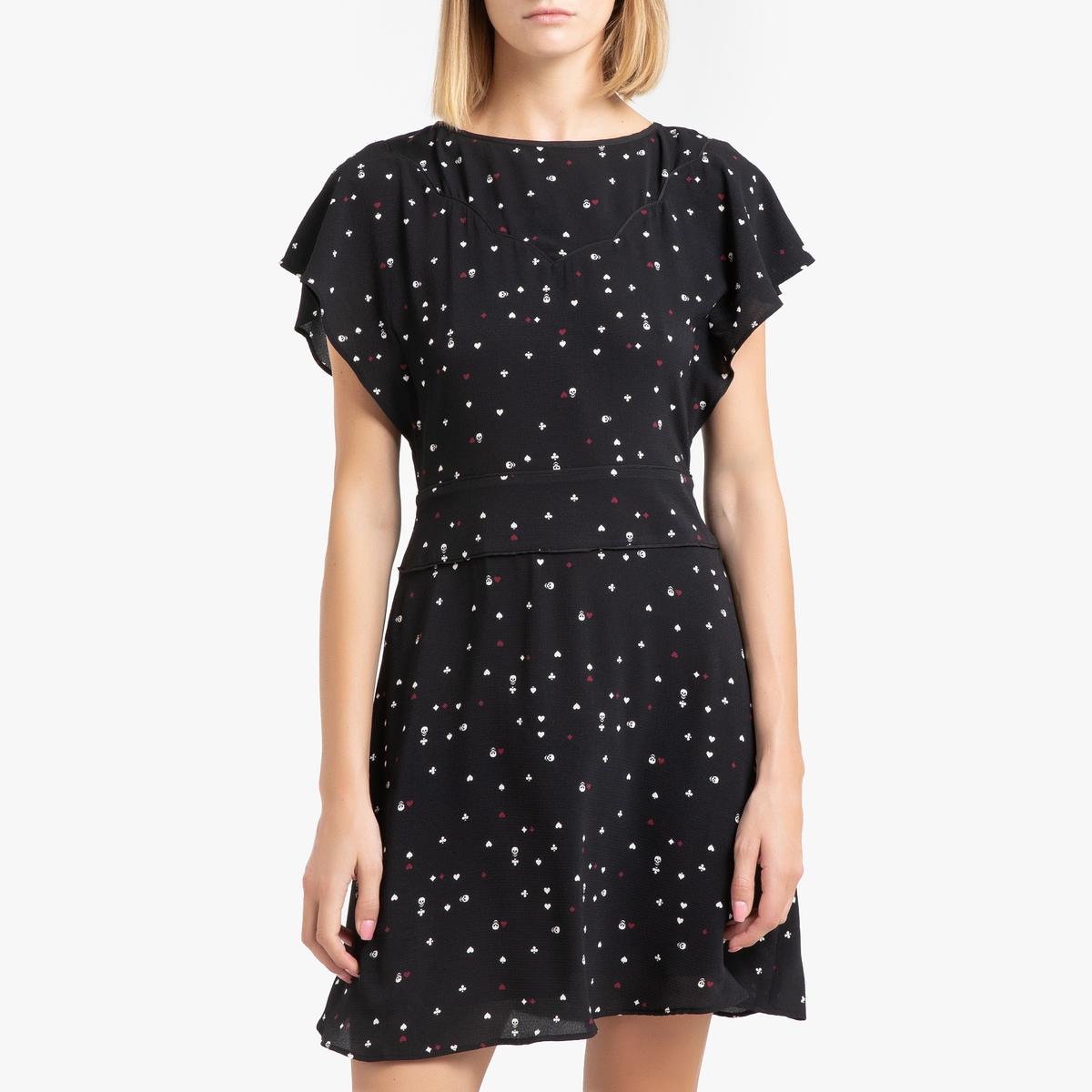 цены Платье La Redoute Короткое с рисунком и короткими рукавами 42 (FR) - 48 (RUS) черный