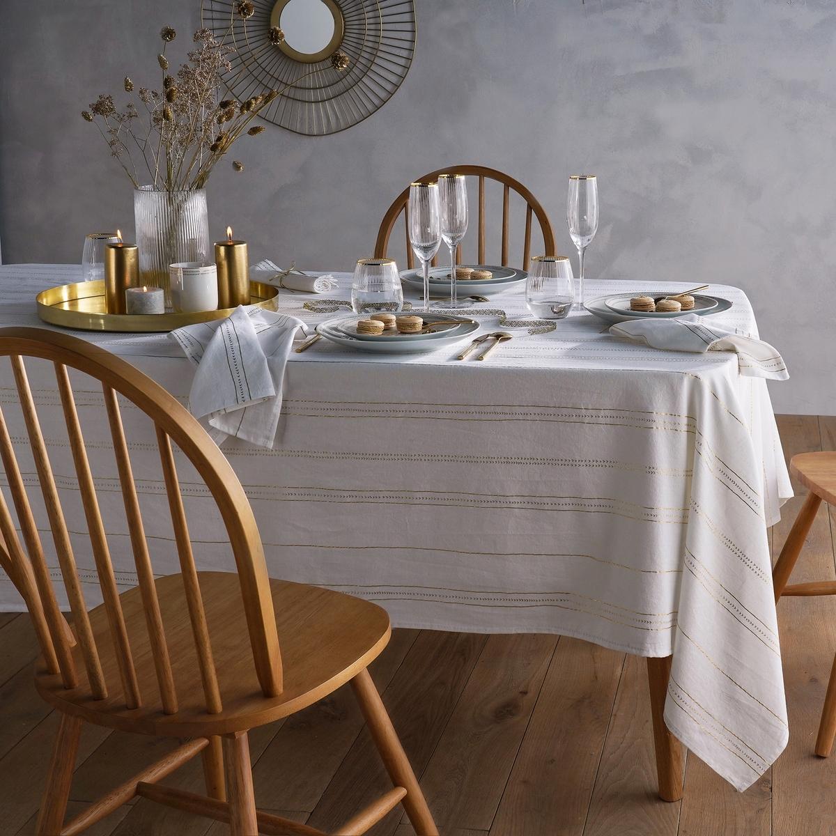 Скатерть LaRedoute С принтом из осветленного хлопка и льна Essentielle 150 x 200 см белый