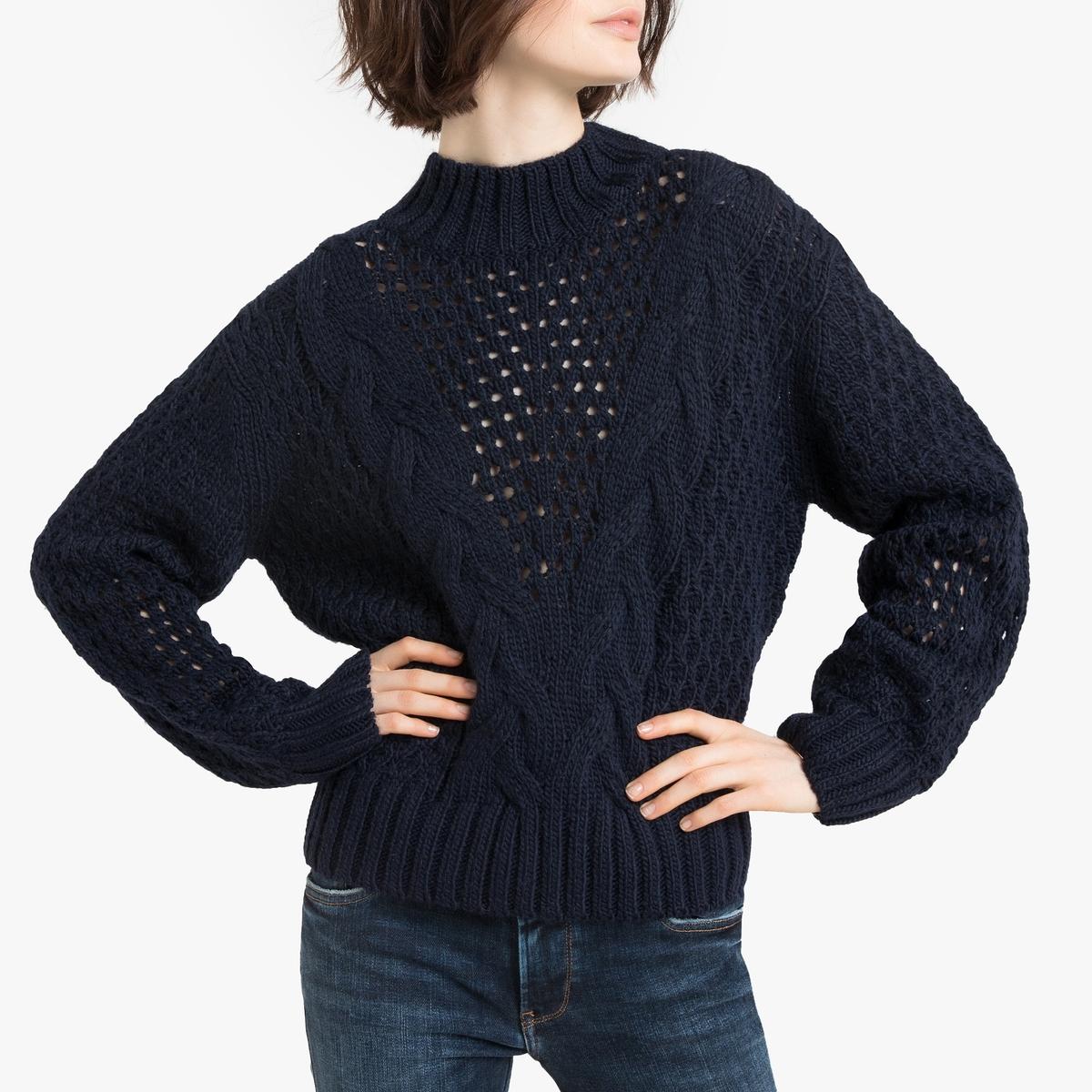 Пуловер La Redoute С воротником-стойка из плотного ажурного трикотажа M синий кардиган из ажурного трикотажа с застежкой на пуговицы