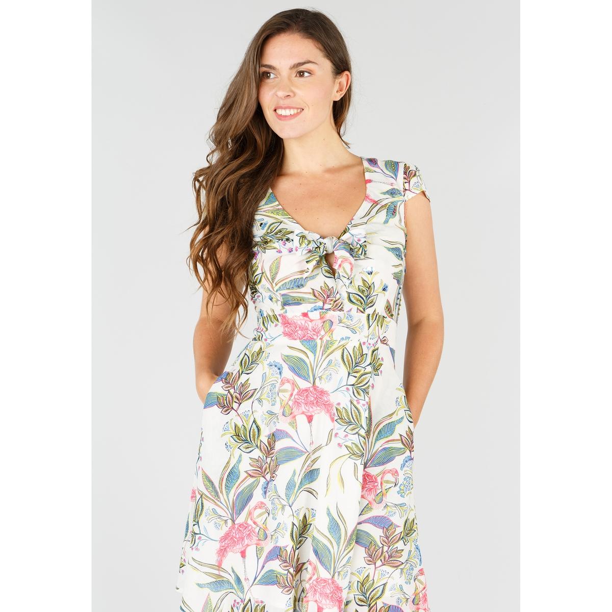 Платье прямое с цветочным рисунком средней длины, 3/4 платье going gone средней длины