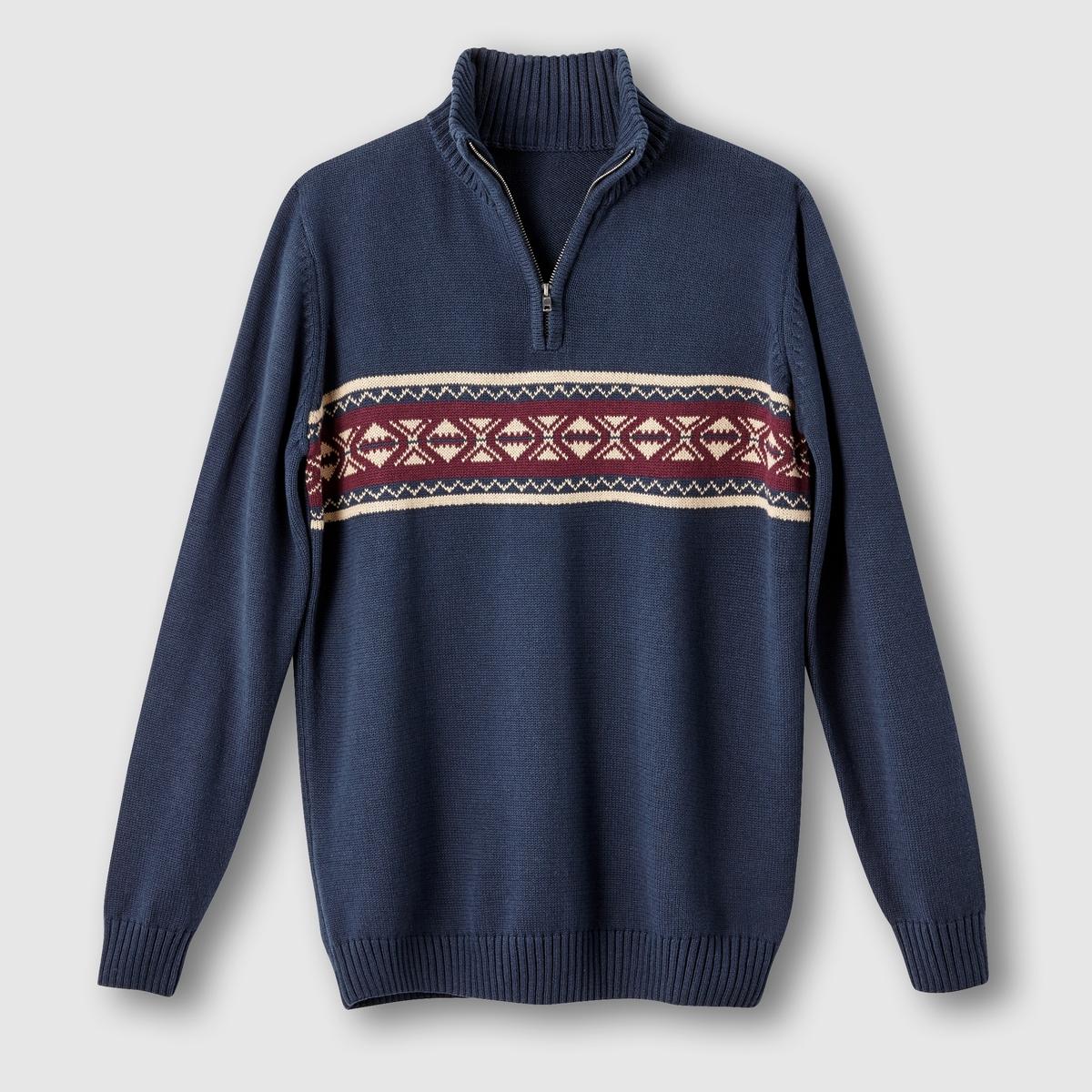 Пуловер жаккардовый с воротником на молнииПуловер жаккардовый с воротником на молнии. Длинные рукава. Высокий воротник на молнии. Лента с оригинальным жаккардовым рисунком спереди. Отделка краев в рубчик. 100% хлопок. Длина 73 см.<br><br>Цвет: темно-синий