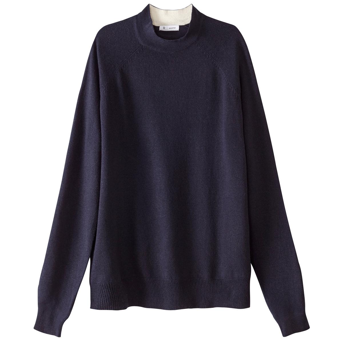 Пуловер с воротником-стойкой из шерсти