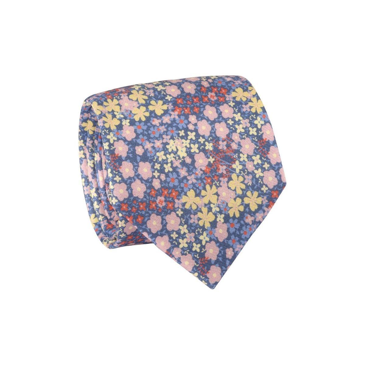 Cravate homme champ de fleurs Bleu marine / Rose clair