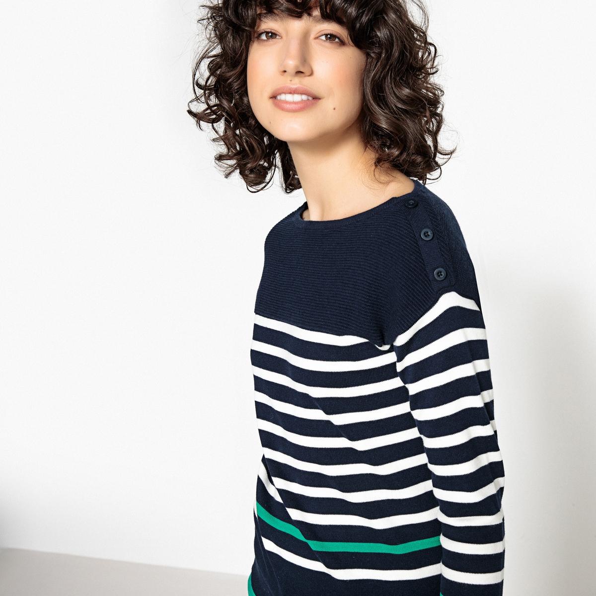 Пуловер в полоску в морском стиле с круглым вырезом