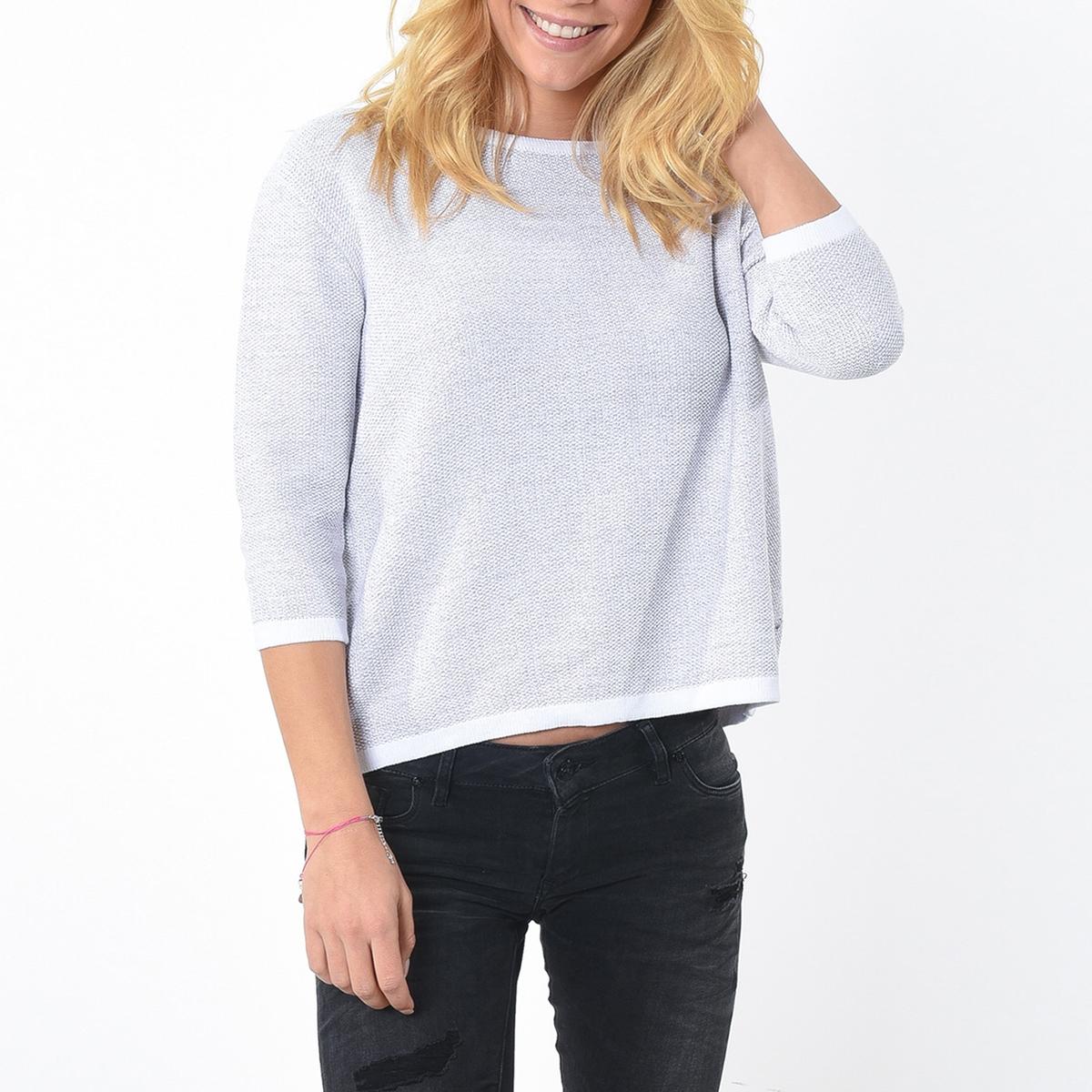 Пуловер с круглым вырезом из хлопкаМатериал : 100% хлопок Длина рукава : рукава 3/4 Форма воротника : круглый вырез Покрой пуловера : стандартный Рисунок : однотонная модель<br><br>Цвет: светло-серый