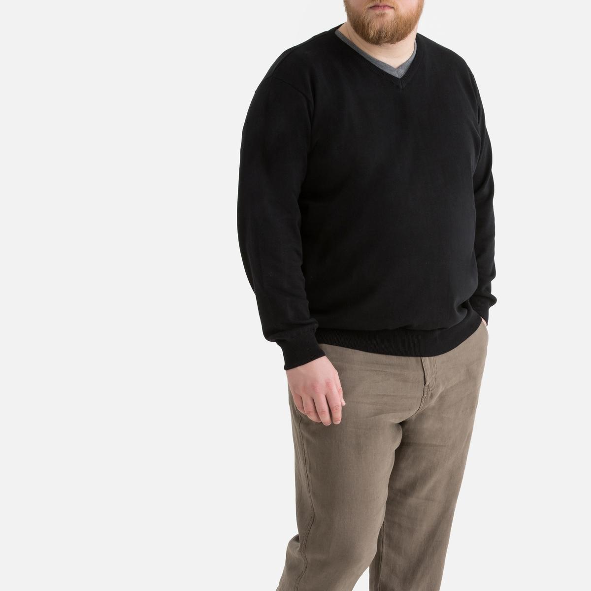 Пуловер La Redoute Большого размера с V-образным вырезом из тонкого трикотажа 62/64 черный