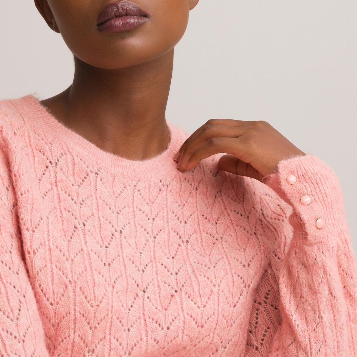 Фото - Пуловер LaRedoute С круглым вырезом из трикотажа пуантель S розовый пуловер laredoute с воротником стойкой из ажурного трикотажа пуантель m каштановый