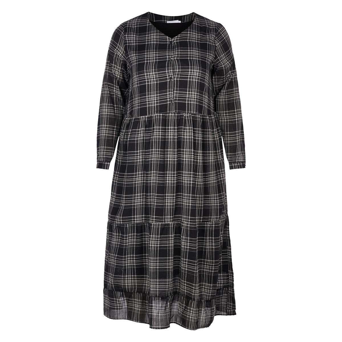 Платье длинное в клетку рубашка прямая большого размера в клетку