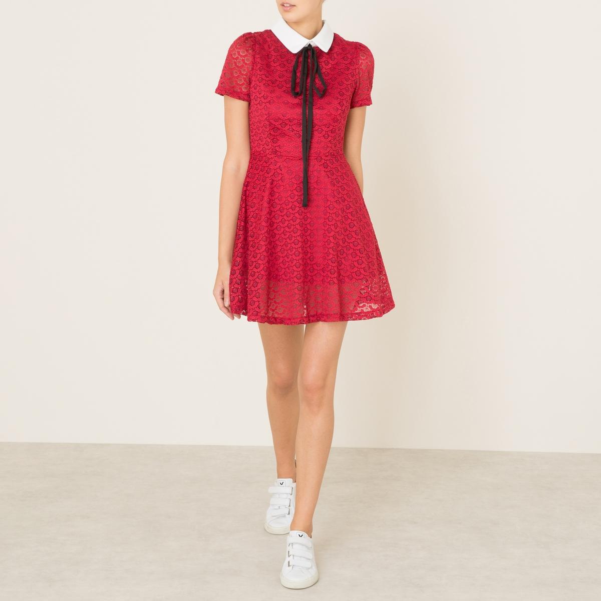 Платье кружевноеСостав и описание    Материал : 92% нейлона, 8% эластанаПодкладка : 100% полиэстер   Длина : по центру спинки ок. 80 см. (для размера S)   Марка : SISTER JANE<br><br>Цвет: красный<br>Размер: S
