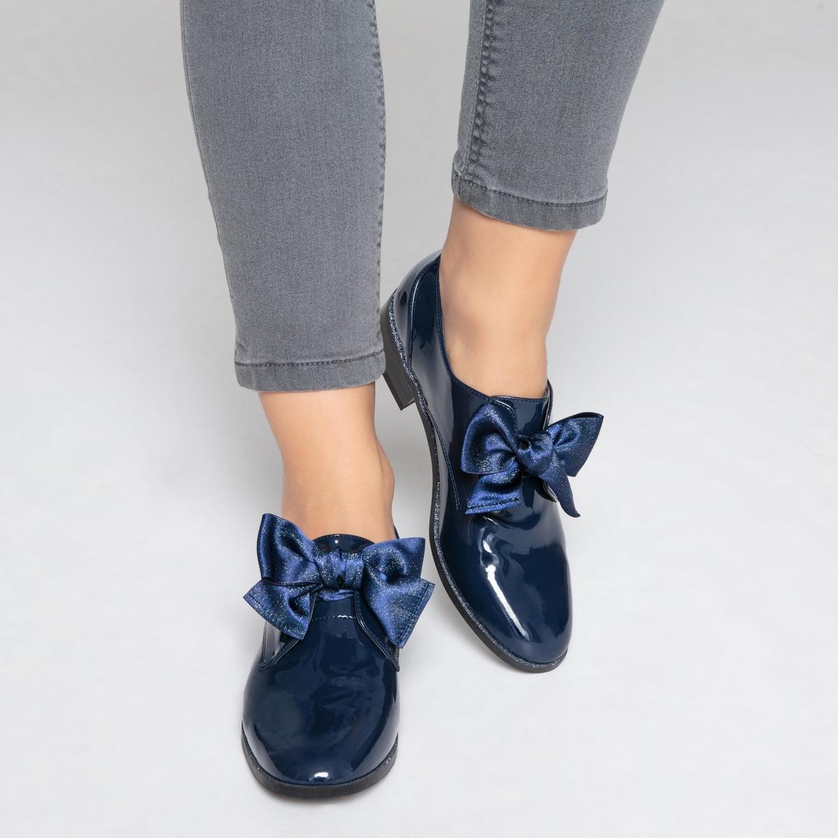 Ботинки-дерби лакированные с бантом