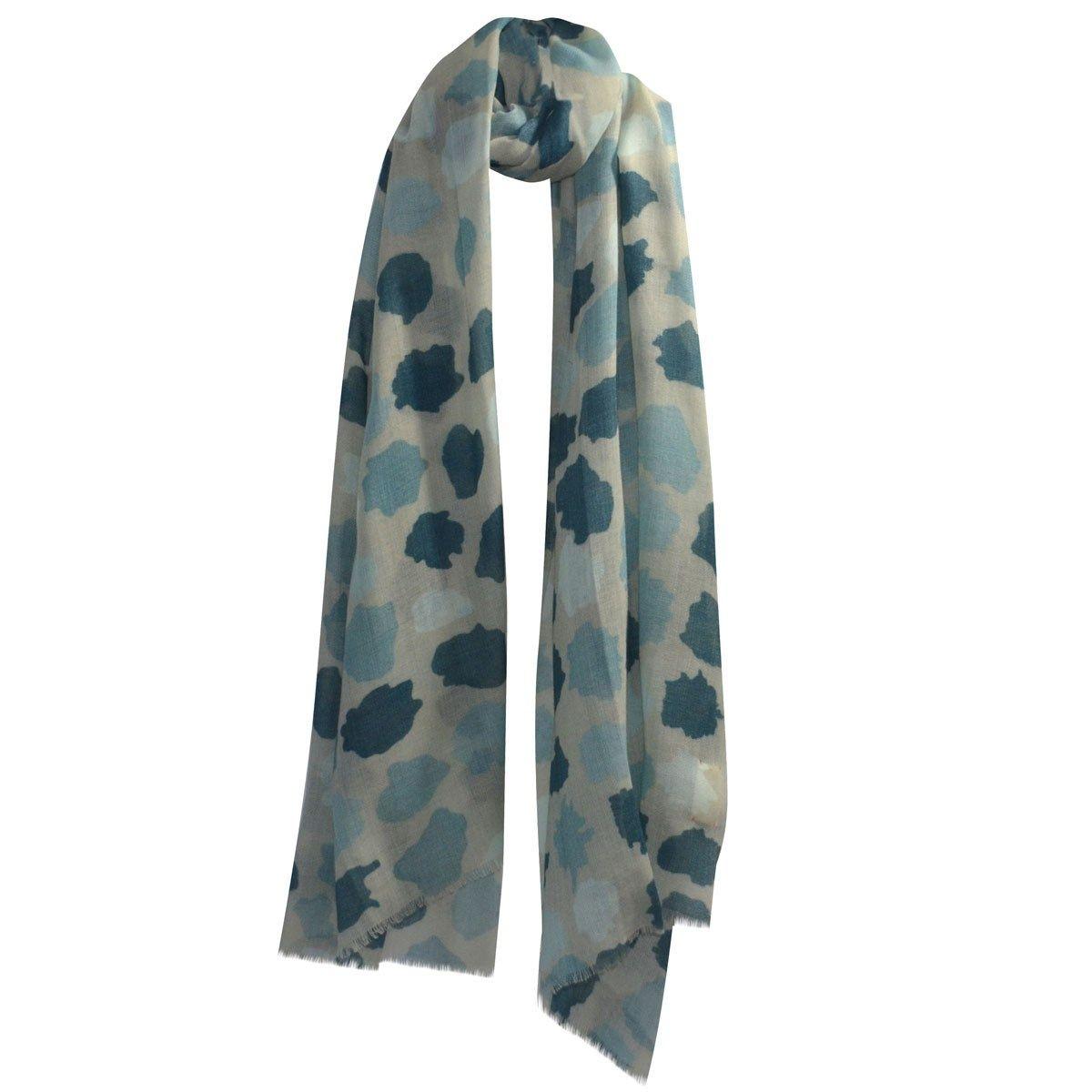 Écharpe douce laine et soie pois peints en camaïeux