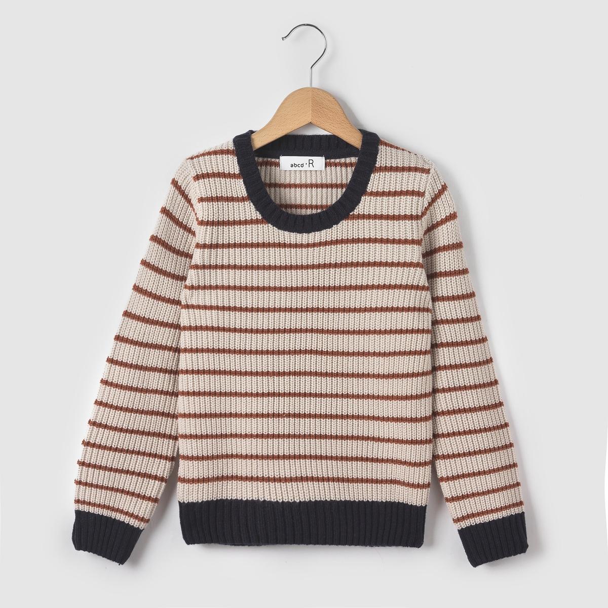 Пуловер в полоску с круглым вырезом 3-12лет