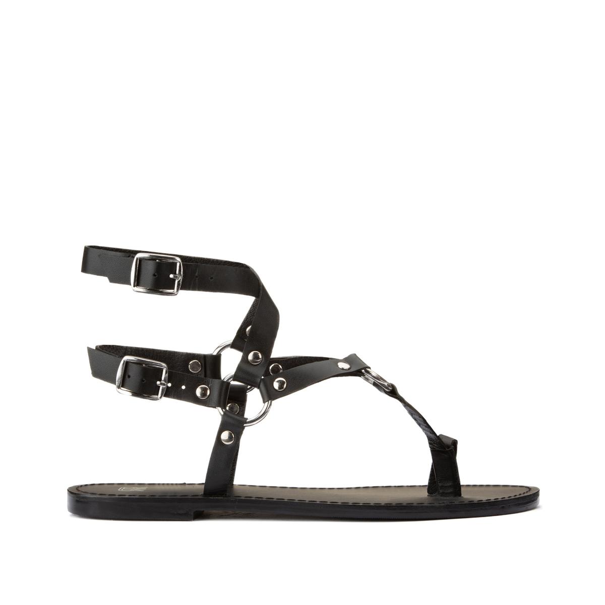 цена Босоножки La Redoute Кожаные с ремешками вокруг щиколотки на плоском каблуке 36 черный онлайн в 2017 году