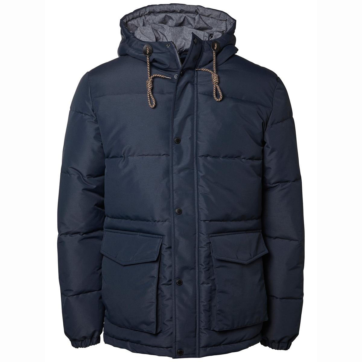 Стеганая куртка с капюшоном NOVOСостав и описание:Материал: 100% полиэстера.Марка: SELECTED HOMME.<br><br>Цвет: синий морской