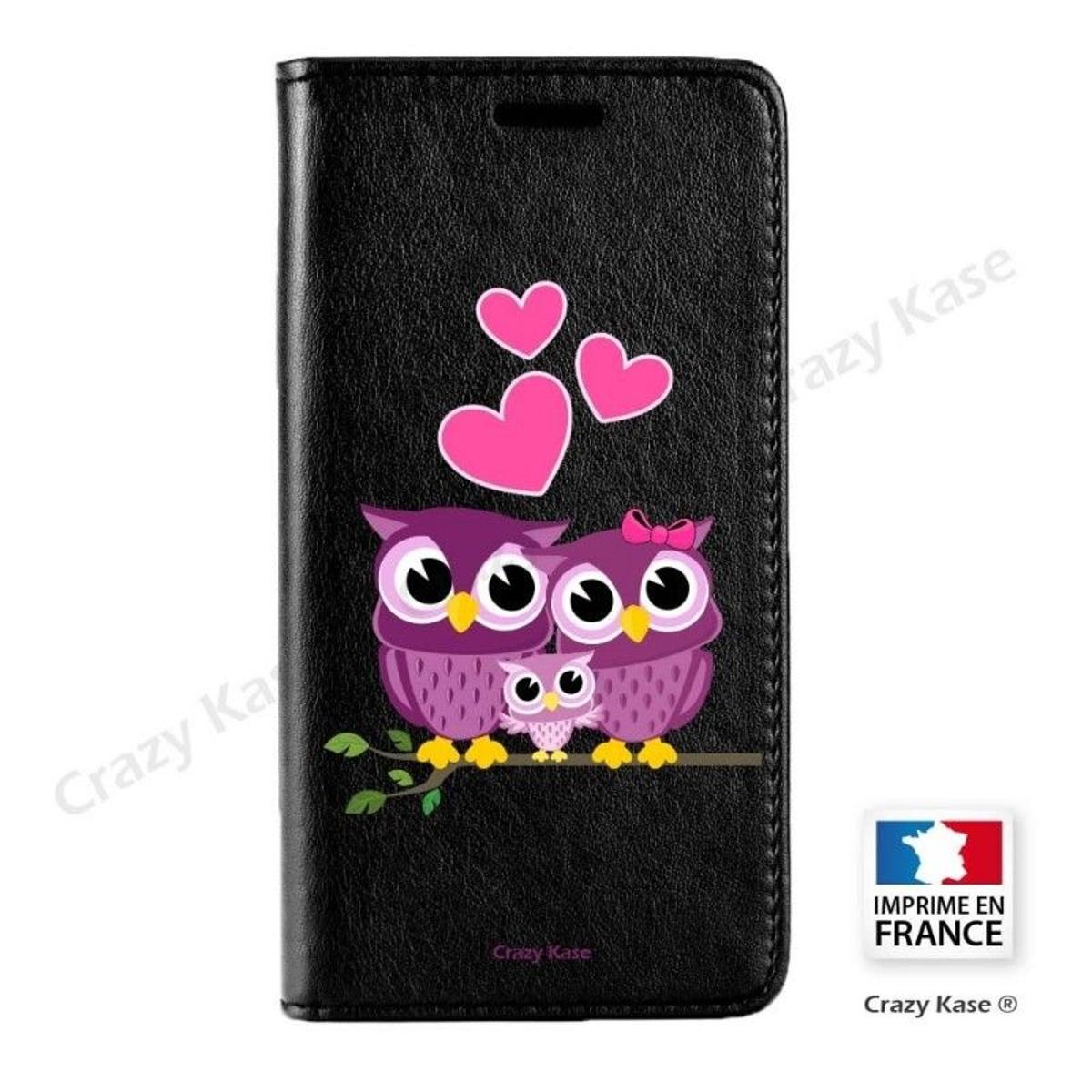 Etui iPhone 6 Plus / 6S Plus noir motif Famille Chouette - Crazy Kase