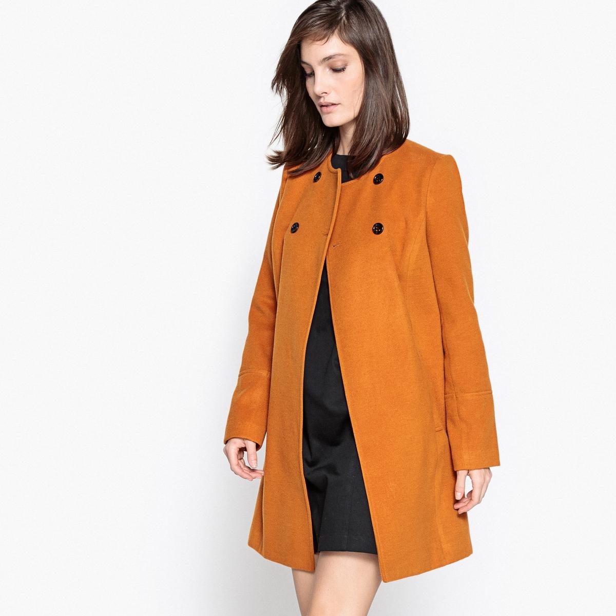 Пальто с двубортной застежкой на пуговицы