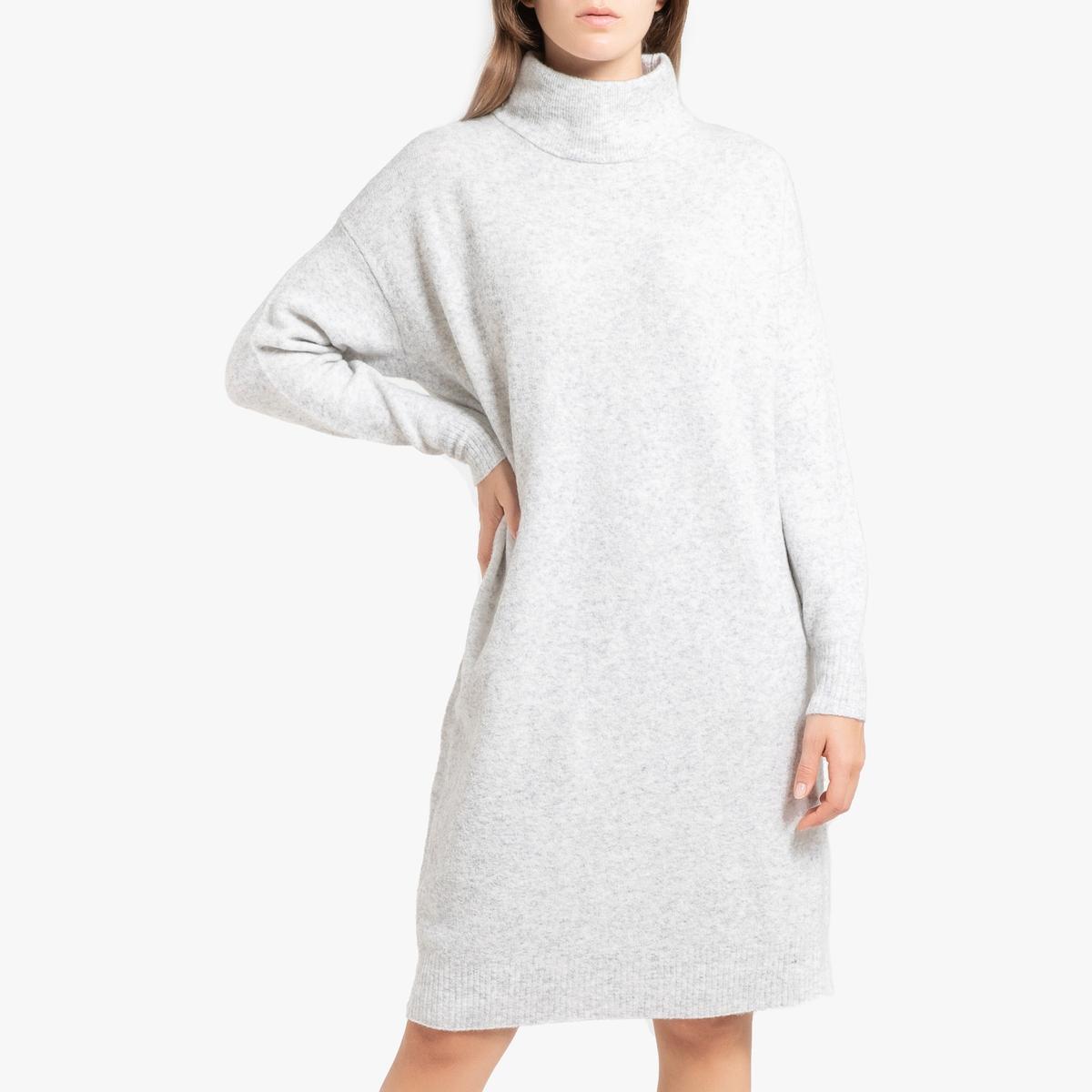 Платье-пуловер LaRedoute Длинное с длинными рукавами DAMSVILLE XS/S серый