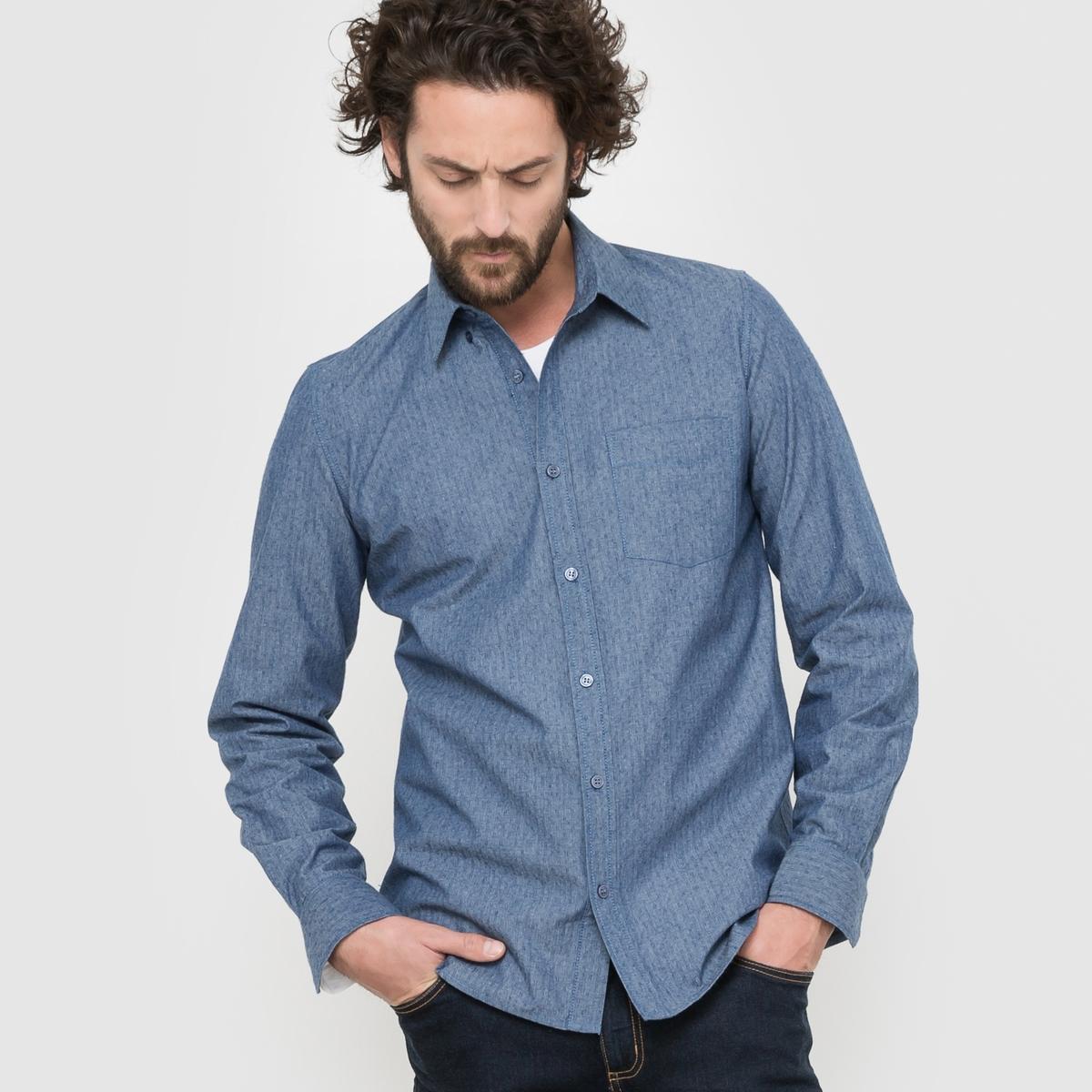 Рубашка прямого покроя из шамбре с длинными рукавами