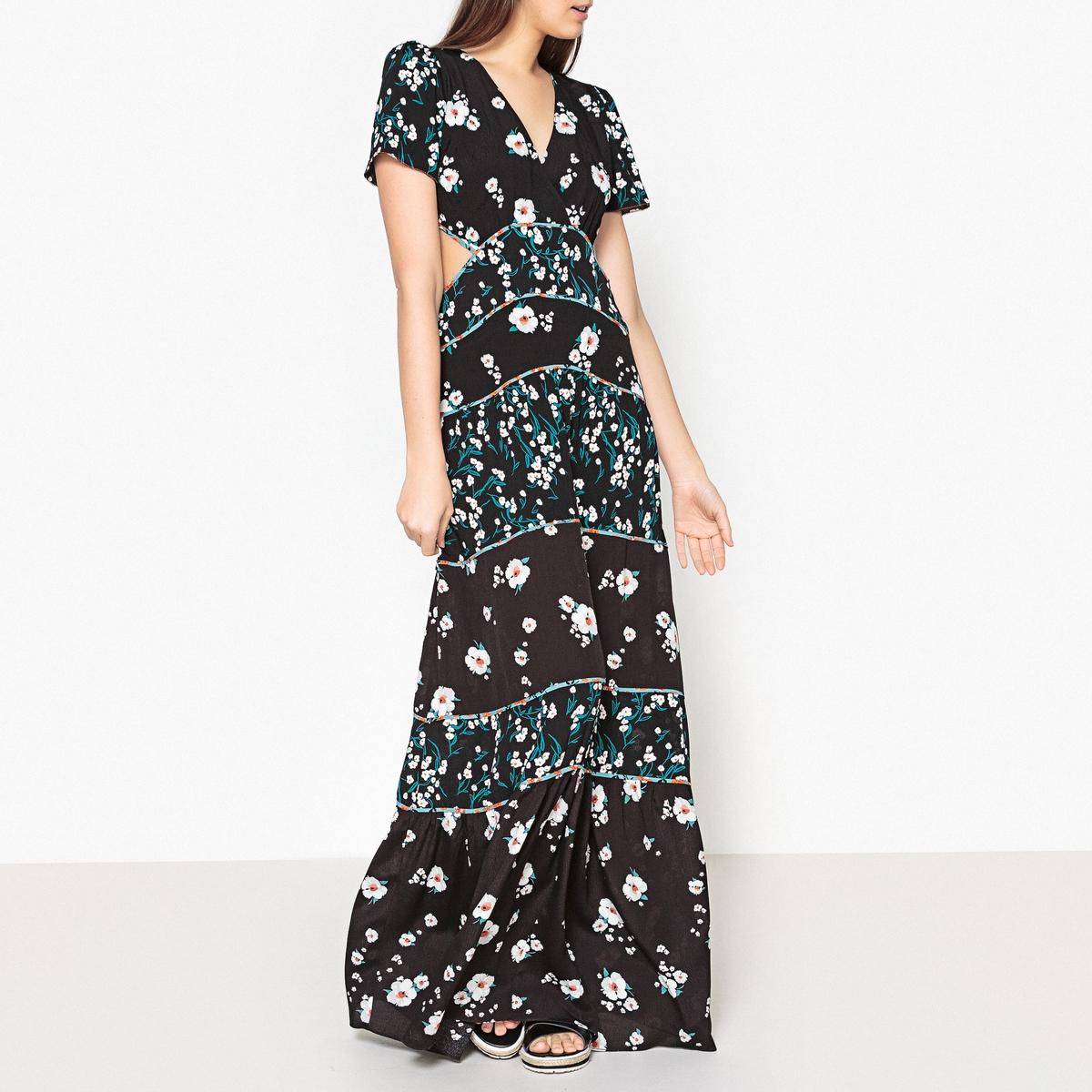 Платье длинное с рисунком BLUSH BA&SH. Цвет: рисунок черный