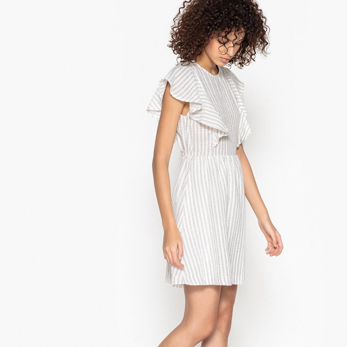 Платье в полоску с воланами CANIA