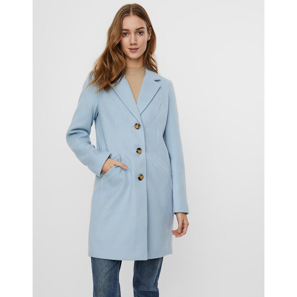 Пальто LaRedoute Прямое средней длины на пуговицах XS синий