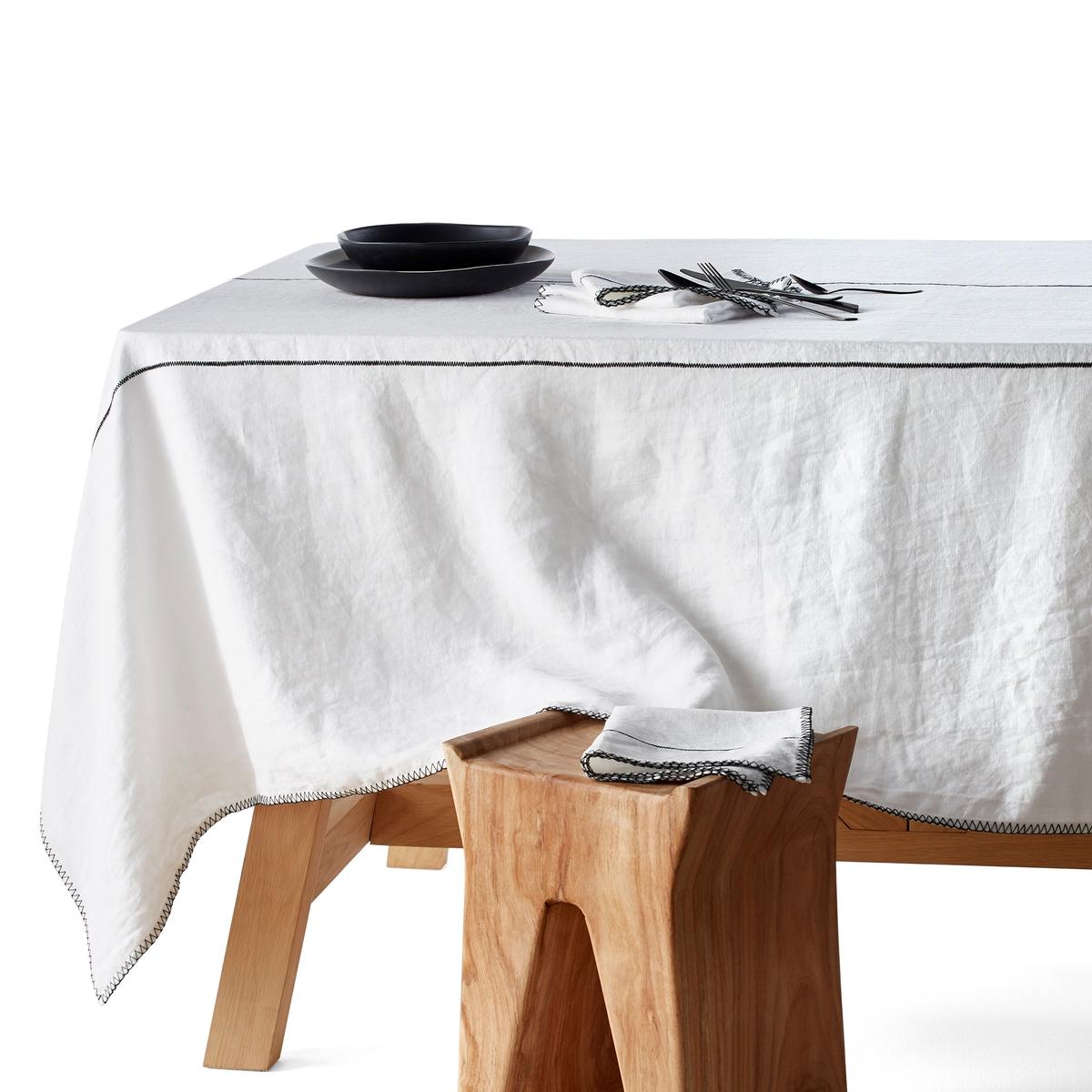 Скатерть LaRedoute Из льна Tojos 180 x 180 см белый