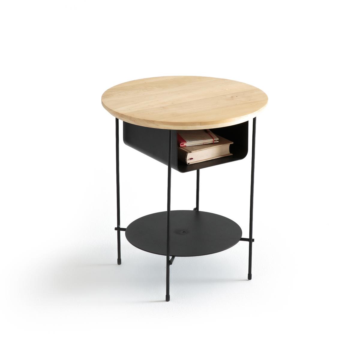Прикроватный столик из металла и дерева, BANGORОписание:Прикроватный столик из металла и дерева BANGOR. Для использования в качестве прикроватного или приставного столика.Описание столика BANGOR :1 круглая столешница с 1 нишей + 1 подставка снизуХарактеристики столика BANGOR : столешница из массива березы. Каркас, ниша, подставка снизу и ножки из металла с покрытием эпоксидной смолойРазмеры столика BANGOR :Общие :Диаметр : 41 см. Высота: 47,7 см. Полезные размеры:Ниша : Д.21,5 x Г.24,5 x В.12,5 см. Столешница и подставка снизу: ?30 смРазмеры и вес упаковки :1 ящик. Д.58 x Г.47 x В.20 см. 7,5 кгДоставка :Прикроватный столик BANGOR требует самостоятельной сборки. Доставка до квартиры по предварительной договоренности! Внимание!! Убедитесь, что посылку возможно доставить на дом, учитывая ее габариты.<br><br>Цвет: черный/ дерево