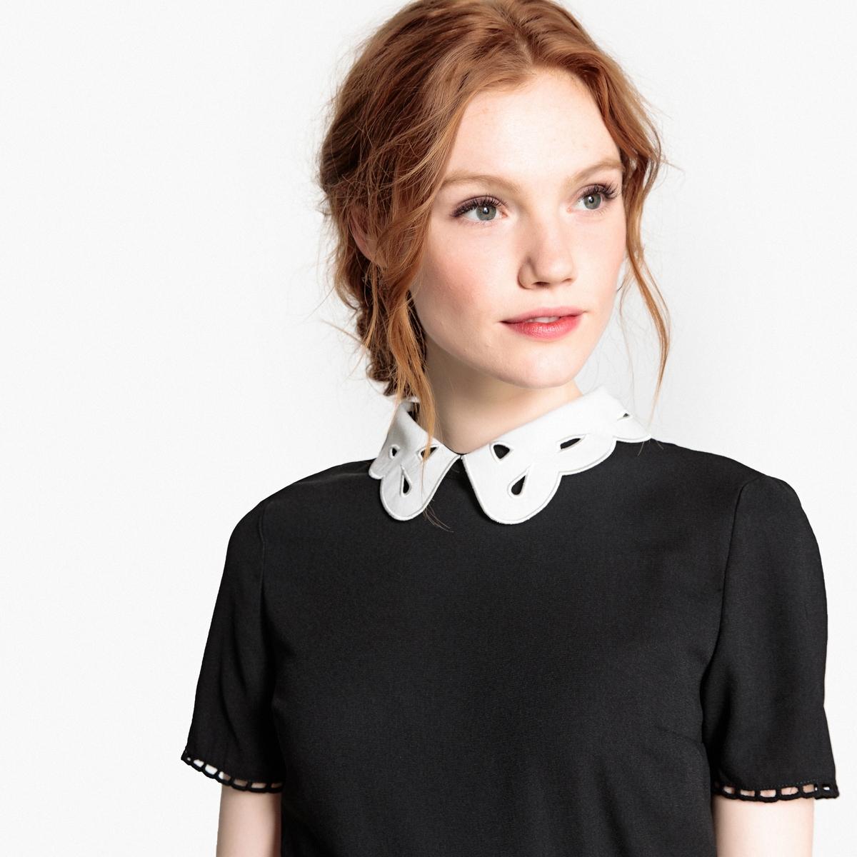 Блузка La Redoute С закругленным отложным воротником и короткими рукавами 34 (FR) - 40 (RUS) черный цены