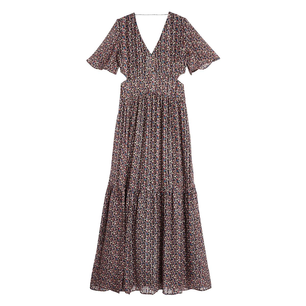 Платье La Redoute Длинное с принтом и короткими рукавами DIVINE 2(M) черный