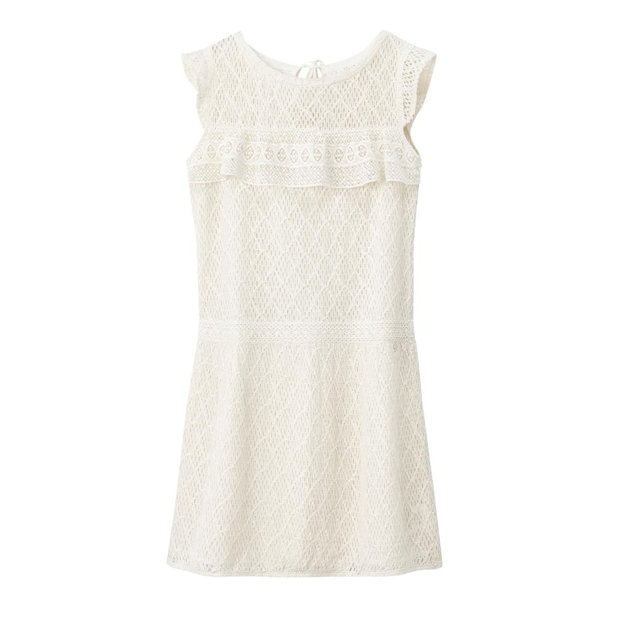 Платье короткое, с короткими рукавами, однотонноеДетали  •  Форма : расклешенная   •  Укороченная модель •  Короткие рукава    •  Без воротникаСостав и уход •  100% хлопок •  Следуйте советам по уходу, указанным на этикетке<br><br>Цвет: белый