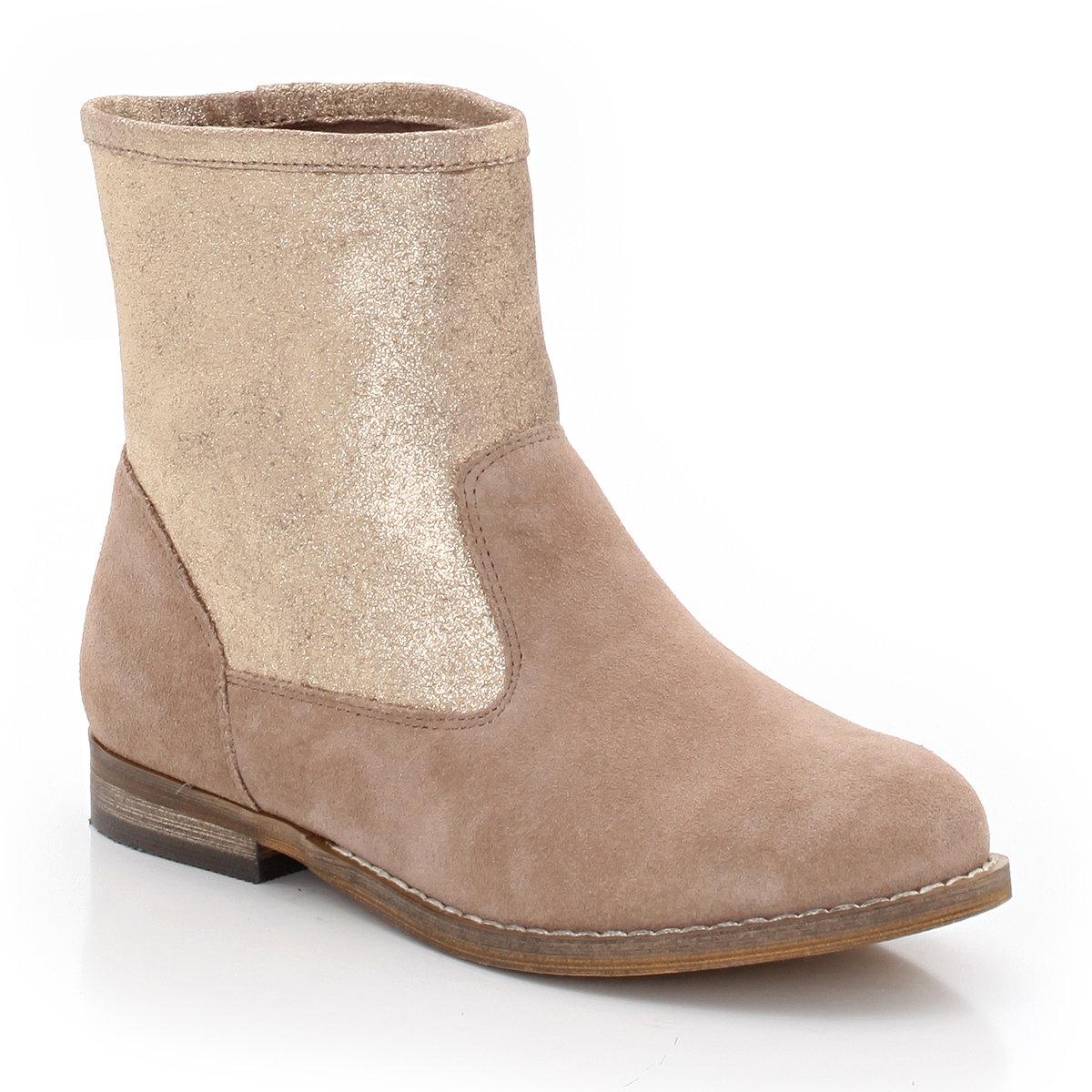 Ботинки из замшиСтильные ботинки из переливащейся замши, перед которыми невозможно устоять. Идеально сочетаются с шортами, юбкой или брюками! Поставка в белой коробке.<br><br>Цвет: бежевый<br>Размер: 38